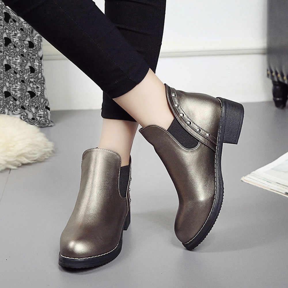 Đinh Tán Mắt Cá Chân Giày Cho Nữ Bằng Giản Martain Giày Mùa Thu Đông Da Mũi Tròn Mùa Đông Giày Nữ Botines Mujer 2019