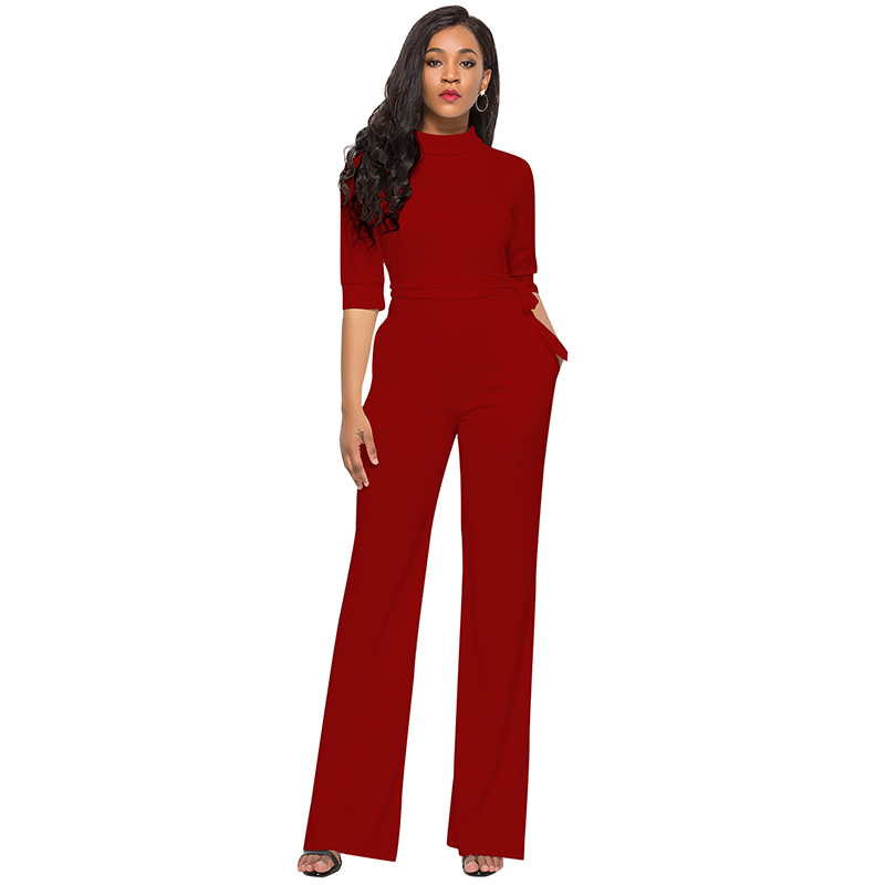 526a60710d Sexy-Women -Solid-Color-Jumpsuit-Stand-Collar-Half-Sleeve-Combinaison-Pantalon-Pocket-Tie-Waist-Wide-Leg.jpg