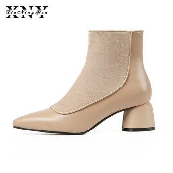 Ankle Boots Women Winter Shoes Pointed Toe Genuine Leather Shoes Woman Med Heels Zipper Boots Fashion Chelsea Boots Plus Size
