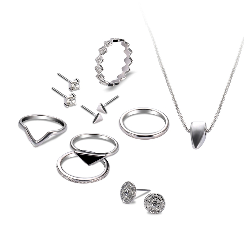 9Pcs Women Wedding Necklace Ring Earrings Ear Studs Jewelry Set Modish Charms