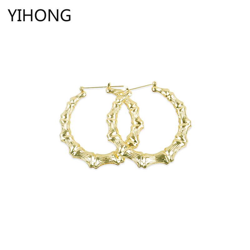 Hot Sale Basketball Wives Round Bamboo Hoop Earrings 65mm Large Circle Brincos Gold Color Earrings for Women Jewelry