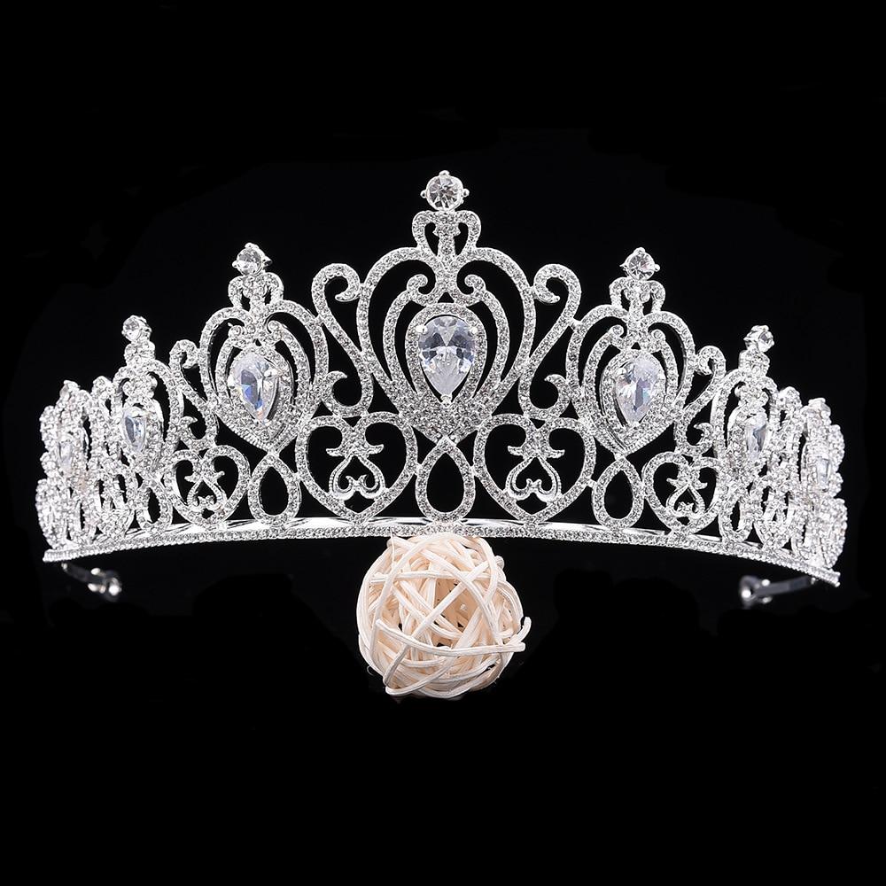 Fashion Luxury New Silver Gold Hair Accessories Queen Princess Bridal  Tiaras Crown Rhinestone Wedding Women Hair 32c51c32cc57