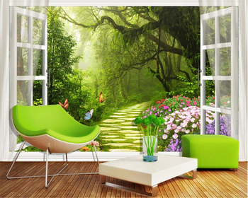 цена на beibehang Large-scale personality stereoscopic wallpaper window forest path flowers 3D TV background 3d wall papers home decor