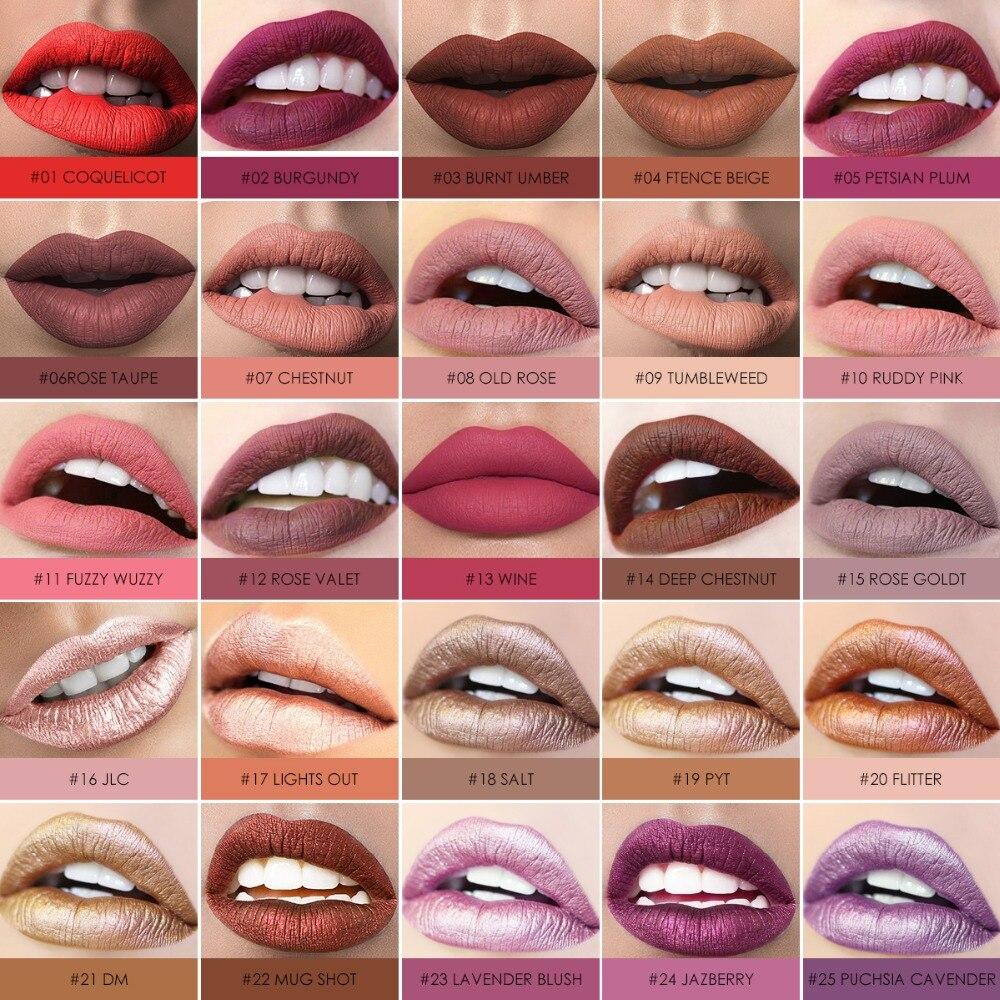 FOCALLURE Waterproof Lip Gloss Lipstik tahan lama Ungu Ungu Hitam - Riasan - Foto 2