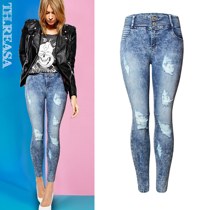 Flower Print Jeans Woman High Waist Jean Pants Woman Sexy Ripped Jeans for Women American Apparel Jeans Femme Beading Holes Pant flower print jeans woman high waist jean