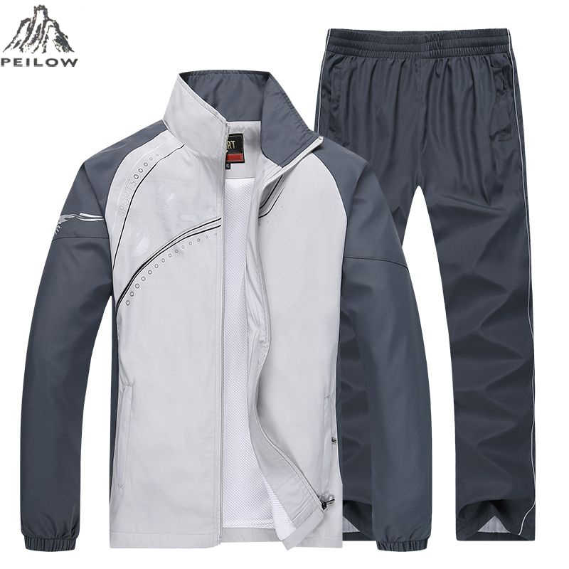 PEILOW merk Lente Herfst Trainingspak Mannen Tweedelige Sets Casual Trainingspak Sportkleding Trainingspakken sporting Kleding maat M ~ 5XL