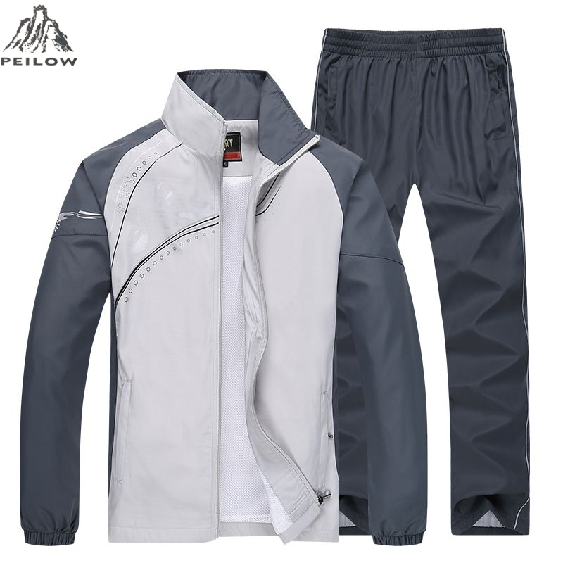 PEILOW Brand Spring Autumn Tracksuit Men Two Piece Sets Casual Track Suit Sportswear Sweatsuits Sporting Clothing Size M~5XL