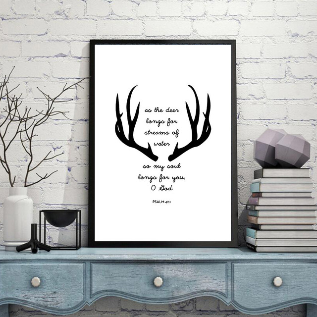 Modern Simple Black And White Antlers Quotes Wall Art Decorative Paintings Canvas Pictures For Living