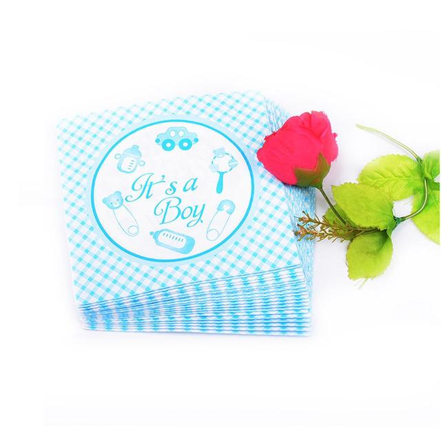 20Pcs It s a Girl Boy Paper Napkins Baby Shower Birthday Party Table Decoration New