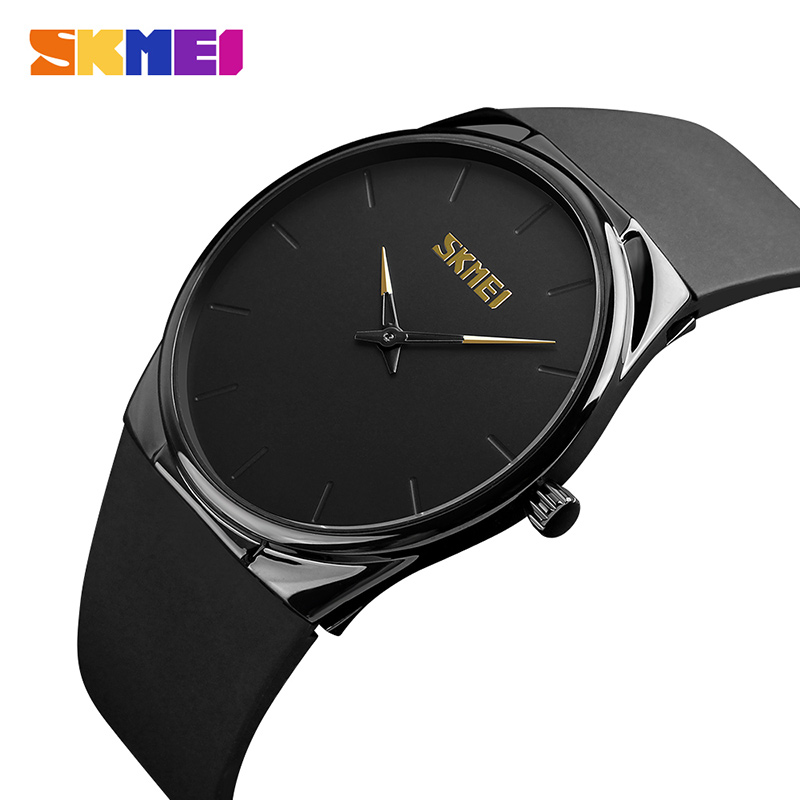 SKMEI Ultra Thin Simple Men Watch Big Dial Business Black Alloy Quartz Watches Fashion PU Strap Wristwatch 30M Waterproof 1601S