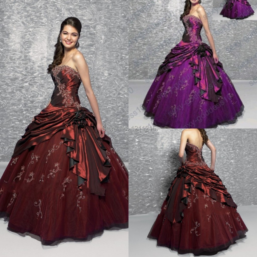 f79dece76ec In Stock US Size 4 -16 Sexy Quinceanera Dress Lace-up Back Strapless  Burgundy Purple Prom Party Ball Gown Sweet Sixteen Dresses