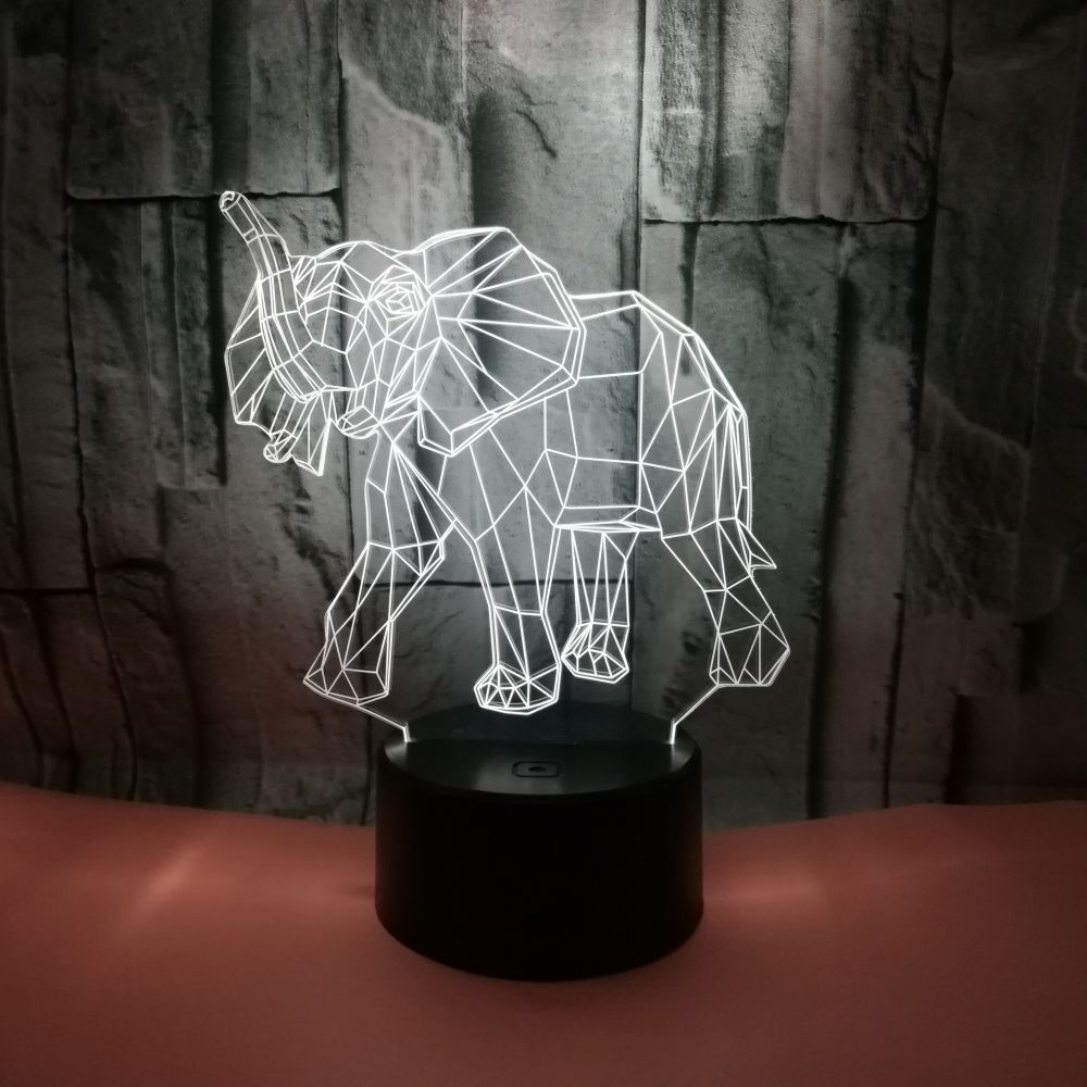 Indian Elephant Touni 3d Night Lights Customized By Remote Controlled Touch Desk Lamp Led Gift 3d Table Lights Led Table Lamps
