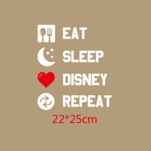 DoreenBeads Eat Sleep Letter Patch Heat Transfer Printing Iron On Patches Applique for T-shirt Jeans Clothes DIY 22*25cm 1PC