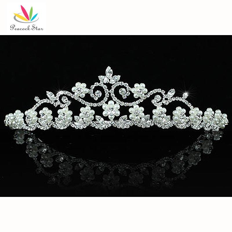 Peacock Star Bridesmaid Bridal Wedding Party Quality White Simulated Pearl Crystal Tiara CT1453