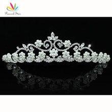 Peacock star partido nupcial de la boda de dama de honor calidad simulado blanco perla tiara cristalina ct1453