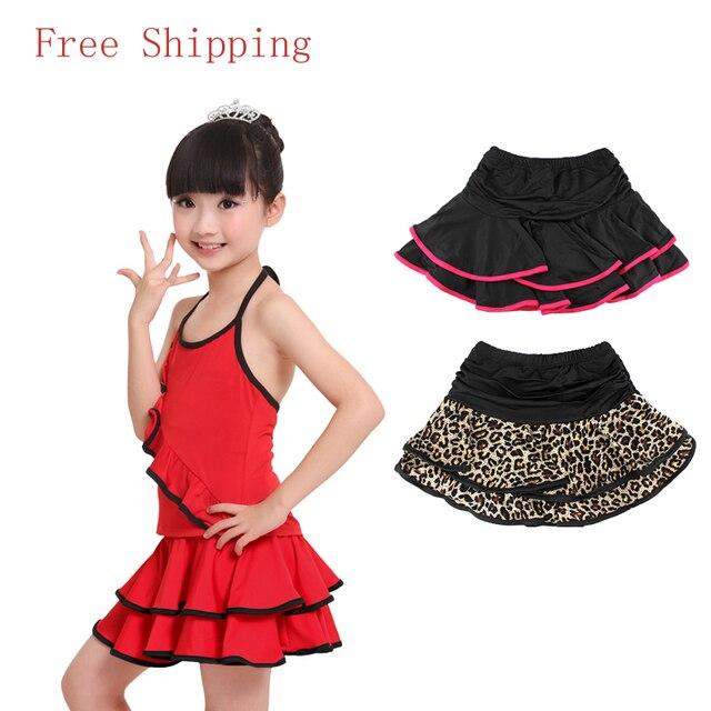 Wholesale Cute Spandex Latin Dance Skirt Girls Kids Children Ballroom Dancing Skirt Inside With Shorts Mini Skirt 2