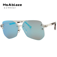 HsAblaze Lunettes 2017 New Grand Cadre Femmes Hommes lunettes de Soleil Sans Monture lunettes de Soleil Miroir lunettes de Soleil Pour femmes Objectif Clair Nuances(China (Mainland))