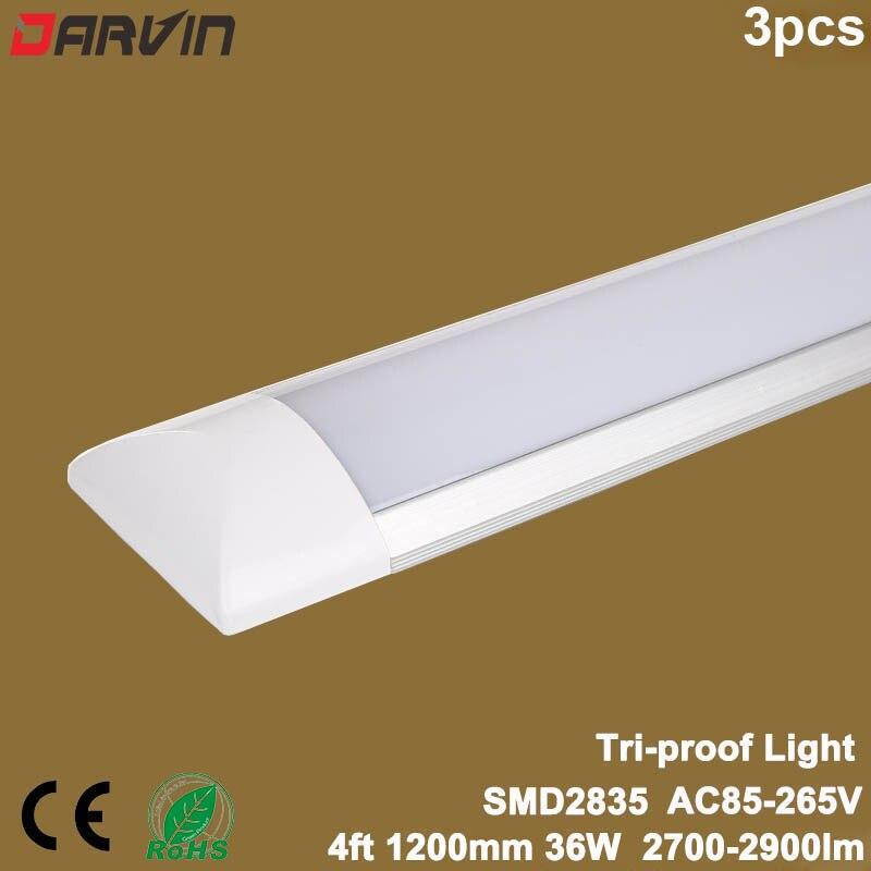 3pcs Led Tube Light 4ft 36W 1200mm Led Flat Batten Linear Light Tri proof Lamp 110V AC85 265V Light Lighting Factory Price