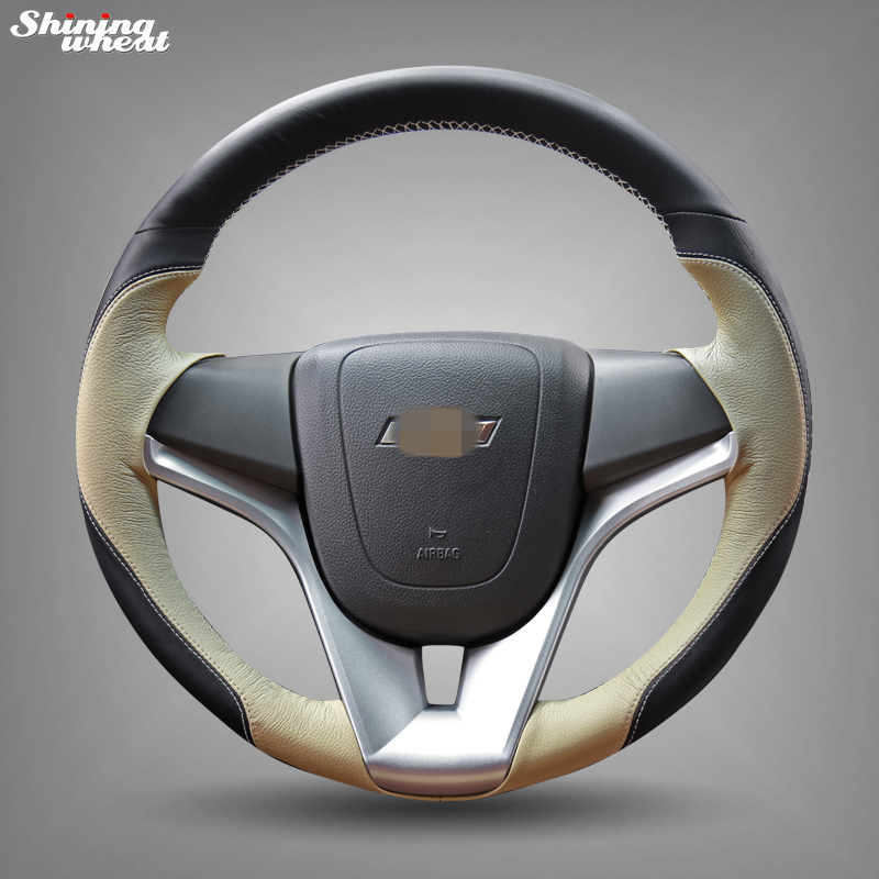 Shining wheat Hand-stitched Black Beige Leather Car Steering Wheel Cover for Chevrolet Cruze Aveo senior luxury hand knitted bv style car steering wheel cover for mini cooper