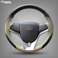 Shining wheat Hand stitched Black Beige Leather Car Steering Wheel Cover for Chevrolet Cruze Aveo