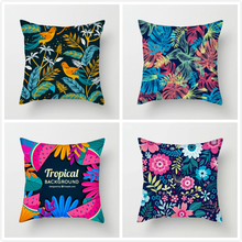 Fuwatacchi Tropical Plant Cushion Cover Palm Leaves Fantastic Colors Throw Pillow Covers for Home Sofa Chair Decorative Pillows