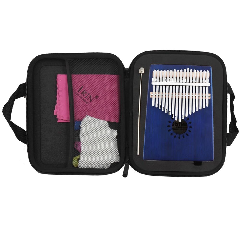 17 Teclas Kalimba Azul De Una Sola Tabla De Caoba Dedo Pulgar De Piano Mbira Mini Instrumento De Teclado Con Accesorios Completos