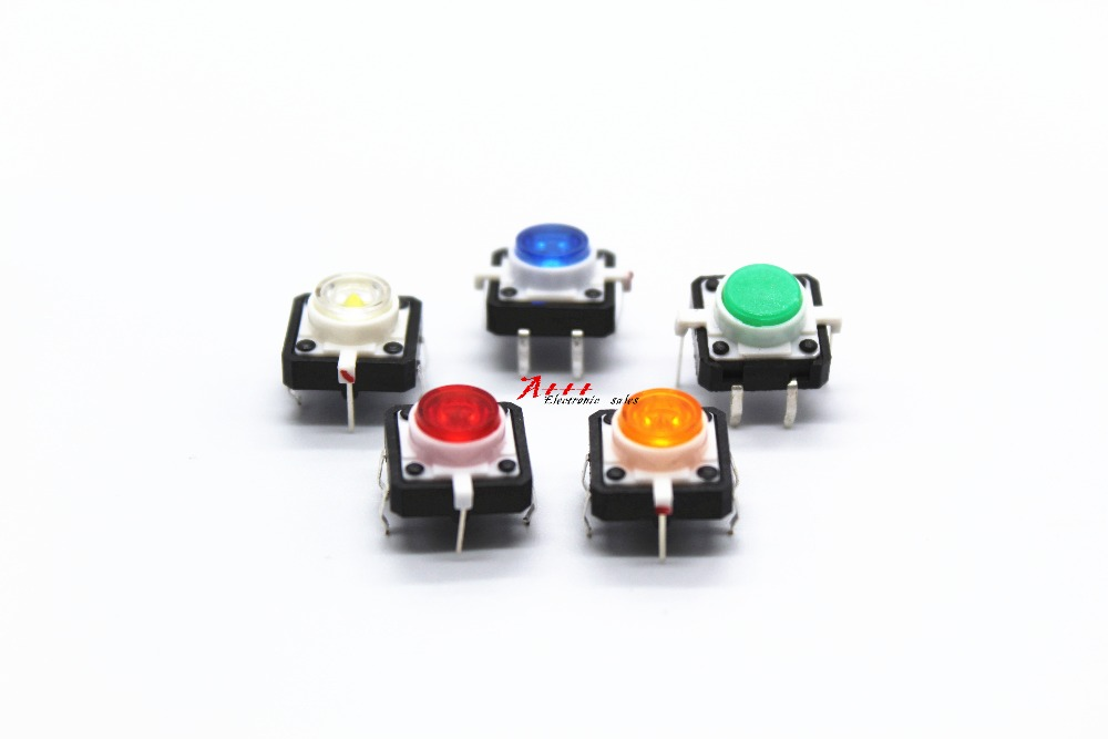 New Fashion Free Shipping 20pcs 12 red/yellow/blue/green/white 12 With Light Reset Switch 4-pin Reset Button Fretting Touch Switch Relieving Heat And Sunstroke