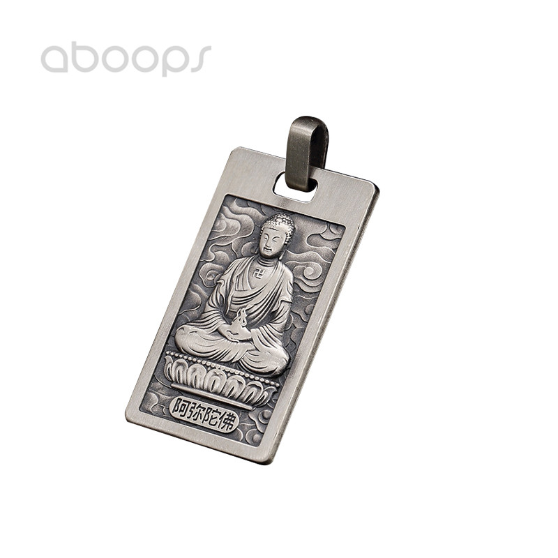925 Sterling Silver Buddhism Buddha Medal Pendant Inscribed Heart Sutra for Men Women Free Shipping in Pendants from Jewelry Accessories