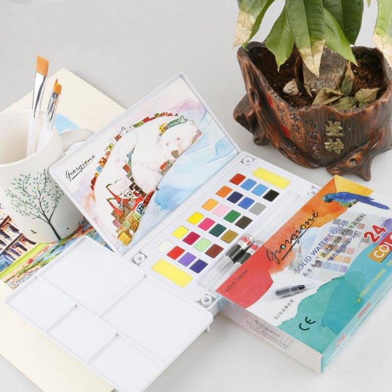 12/18/24/36Colors Portable Watercolor Pigment Set Water Bursh Pen Palette Solid Paint For Artist Drawing Painting Supplies цены