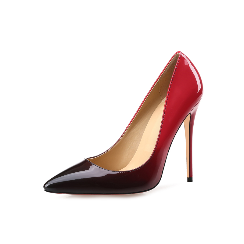 Free shipping fashion women Pumps brand new Casual Designer Gradient Color red black patent leather point toe high heels shoes in Women 39 s Pumps from Shoes