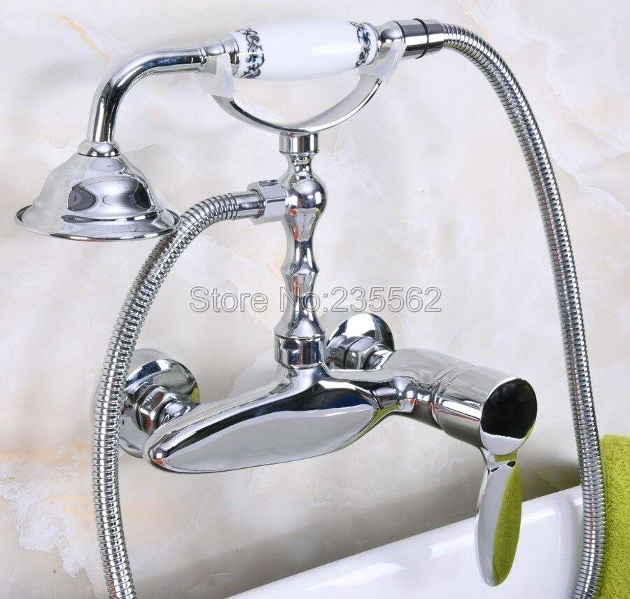 Cromo montado en la pared grifo para bañera con patas estilo de teléfono de Showe lna180