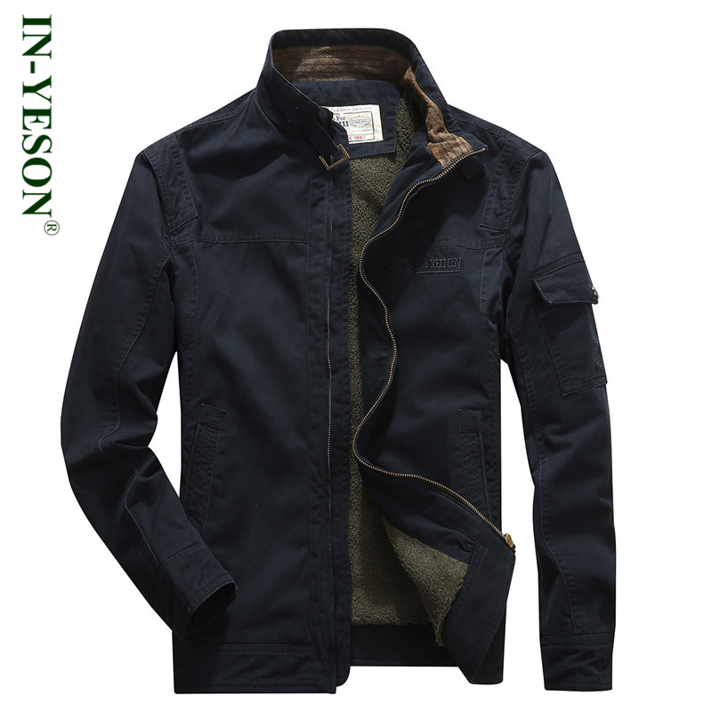 New Arrival Mens Parka Military Style Stand Collar Fleece Parka Men Cotton-Padded Thick Warm Outerwear Brand Winter Jacket Men ...