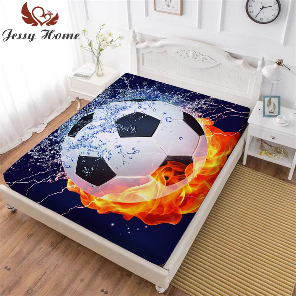 1/3Pcs Football Fitted Sheet Pillowcases Mattress Cover Digital Printing Twin 135cm X 190cm+30cm Kids Gift Sweet Dream