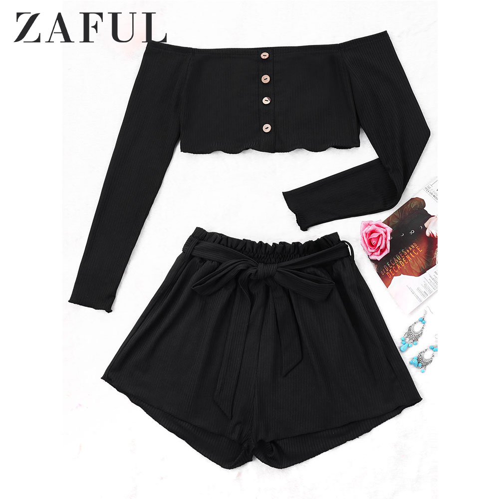 ZAFUL Ribbed Buttons Crop Top Wide Leg Shorts Summer Sexy Off Shoulder Long Sleeve Cropped Top Mid Waist Shorts Girls Tops
