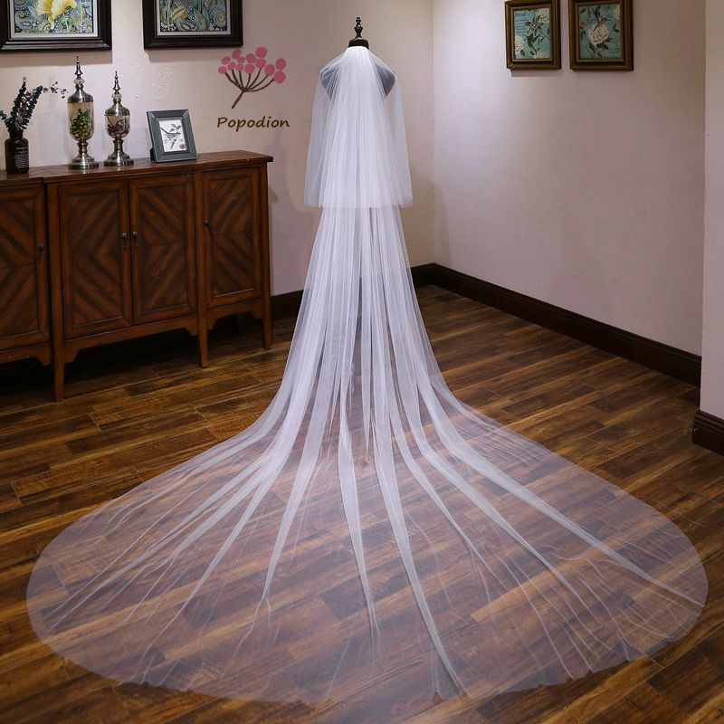 Popodion wedding accessories cover face 3 meters wedding veil cathedral wedding veil bridal long veils voile mariage WAS10144