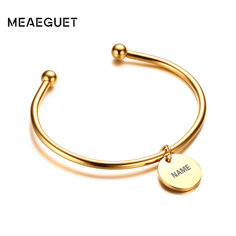 Customized Charm Bracelet: Meaeguet Laser Engrave Charm ID Bangle Personalized Name