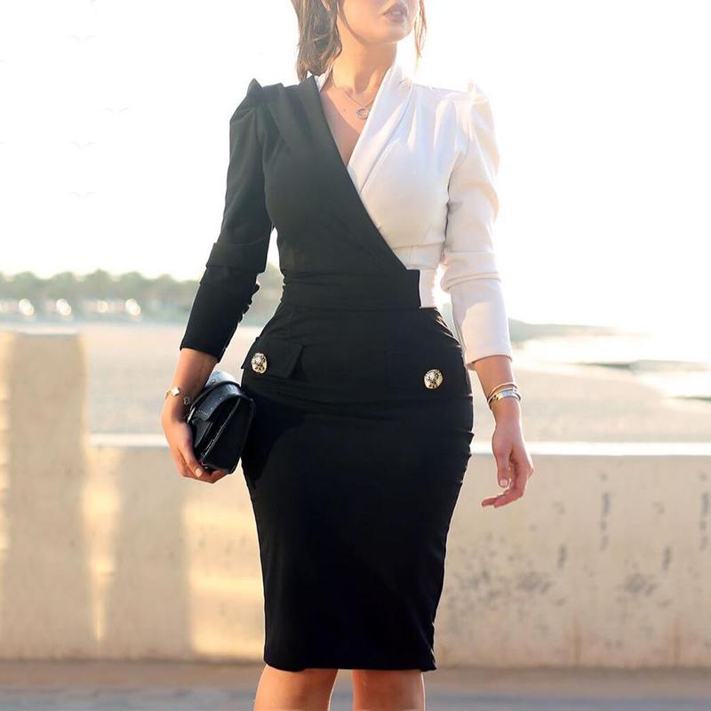 Women Elegant Fashion Office Lady Work Wear Stylish Party Dress Two Tone Metallic Button Midi Bodycon Dress 19 3