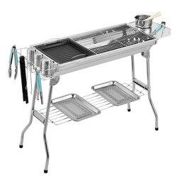 Outdoor RVS Houtskool Grill Barbecue Tool Portable Gratis Installatie Handvat Vouwen BBQ Koken Raster Voor Thuis Park
