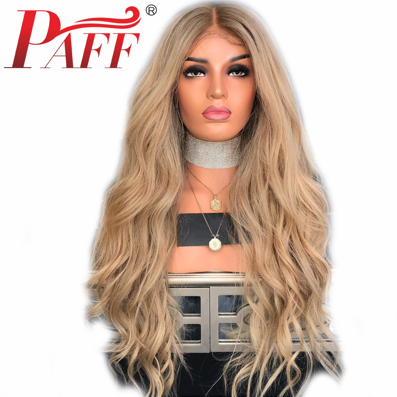 PAFF Blonde Silk Base Wigs Lace Front Human Hair Wigs Natural Wave Brazilian Remy Hair Bleached