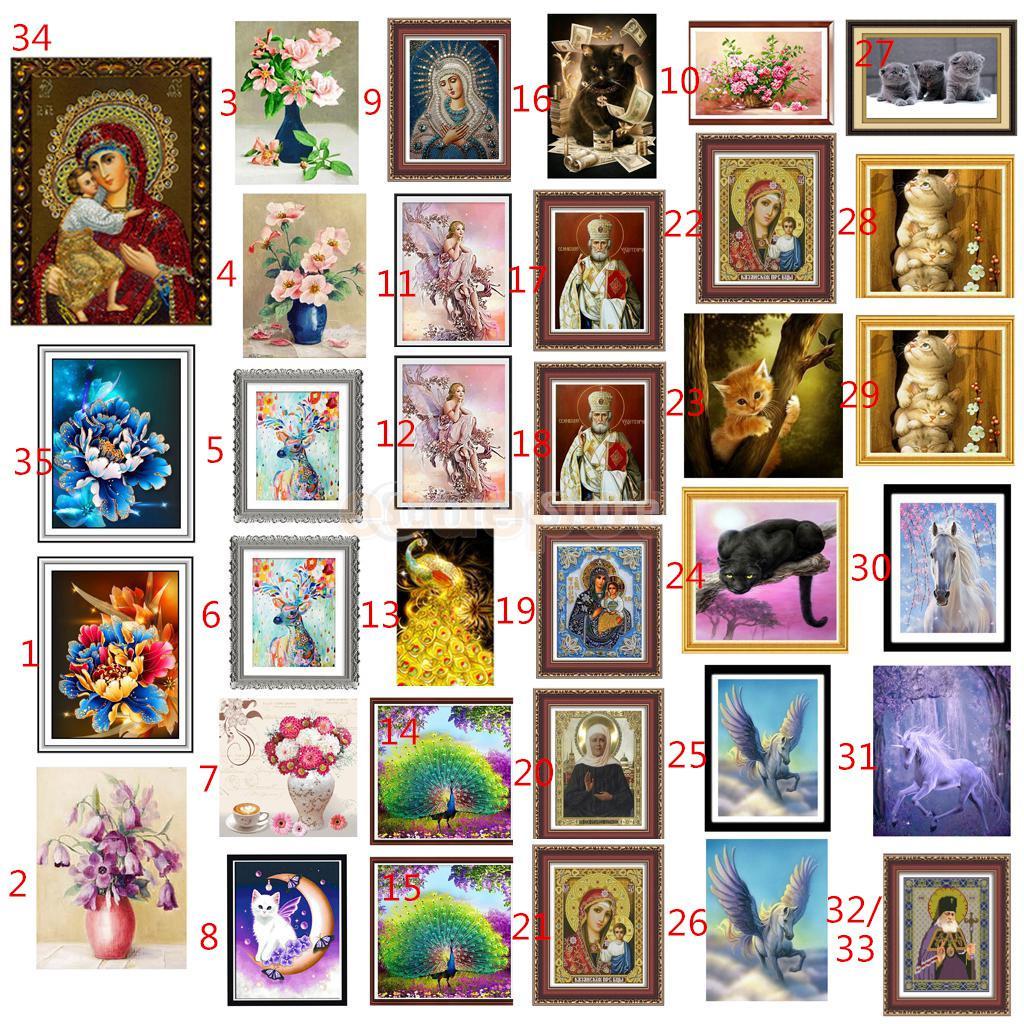 DIY 5D Diamante Sticker Mosaic Cross Stitch Painting Ornament Cat Horse Flower Home Wall Decoration Craft Present