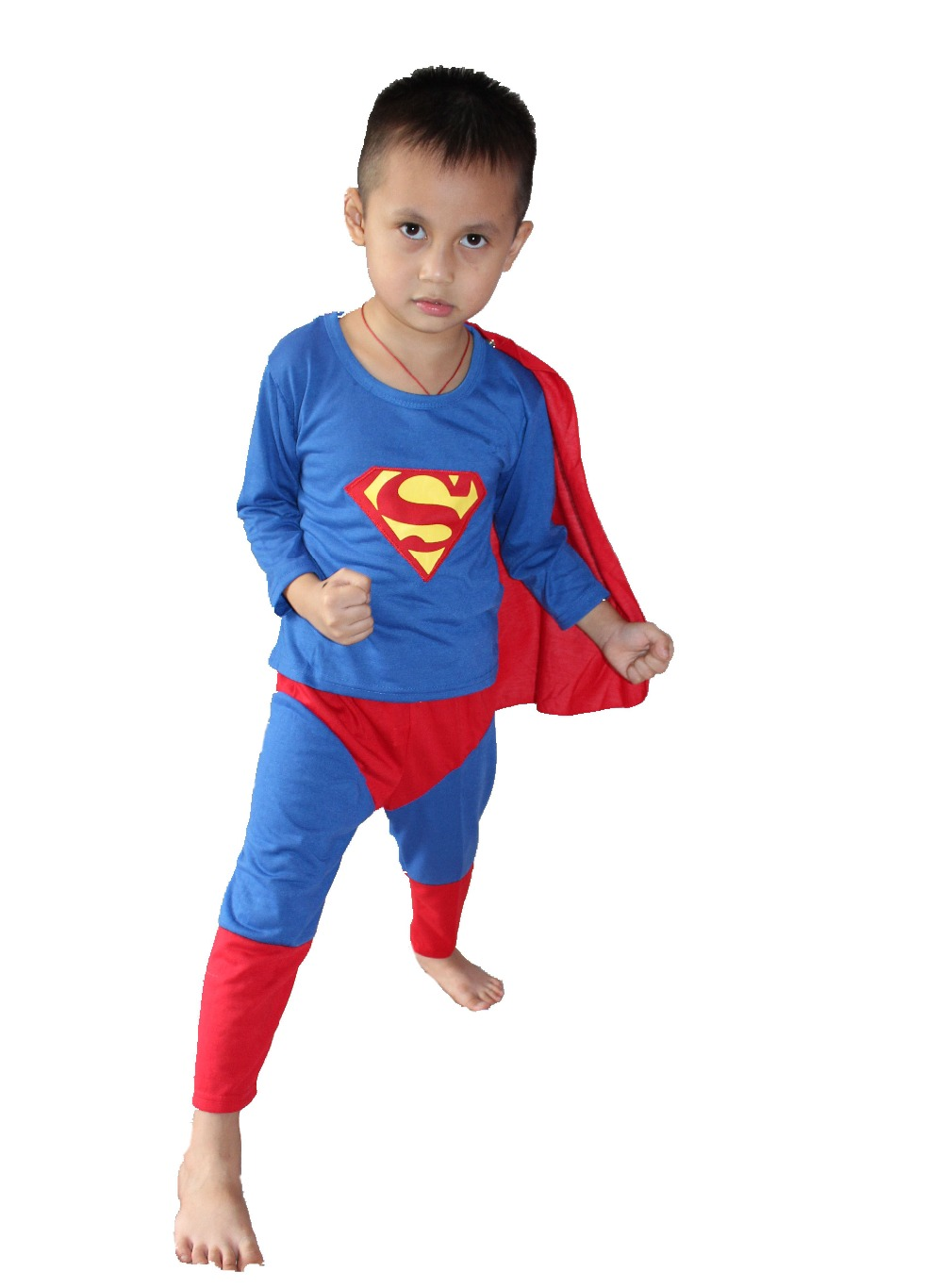 detaljhandel - Halloween Party kostymer Hallowmas 3 - 7 år barn superman Spela kläder / Boy superman kostym Cosplay T-shirt