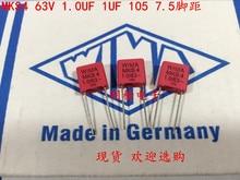 2019 hot sale 10pcs/20pcs German capacitor WIMA MKS4 63V 1UF 1.0UF 63V 105 P: 7.5mm Audio capacitor free shipping 10pcs cbb61 starting capacitance ac 450v 1uf 4uf wire terminal ceiling fan motor run capacitor