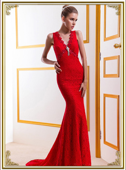 Free shipping  sleeves lace party Homecoming Prom Gowns Ball Formal MJ649 V-Neck Long Evening dresses