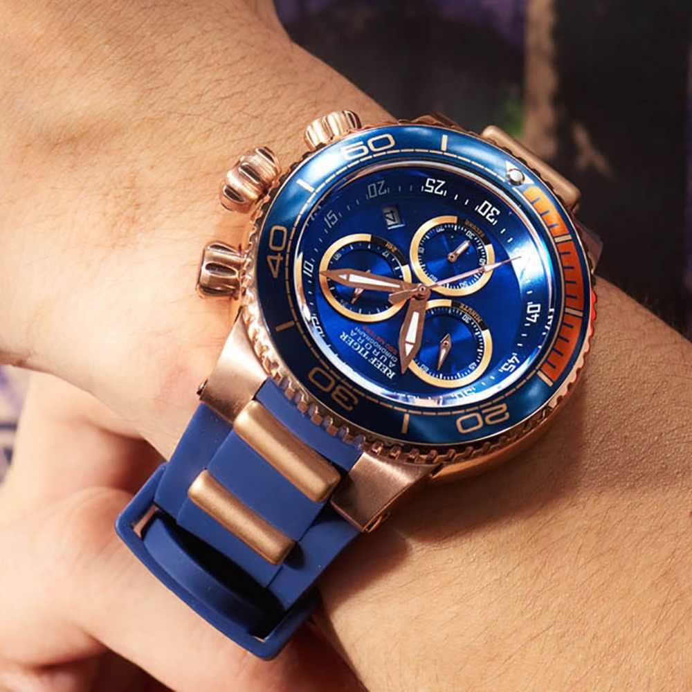 שונית טייגר/RT למעלה מותג יוקרה כחול ספורט שעון Reloj Hombre גברים רוז זהב עמיד למים גומי שעונים Relogio Masculino RGA3168