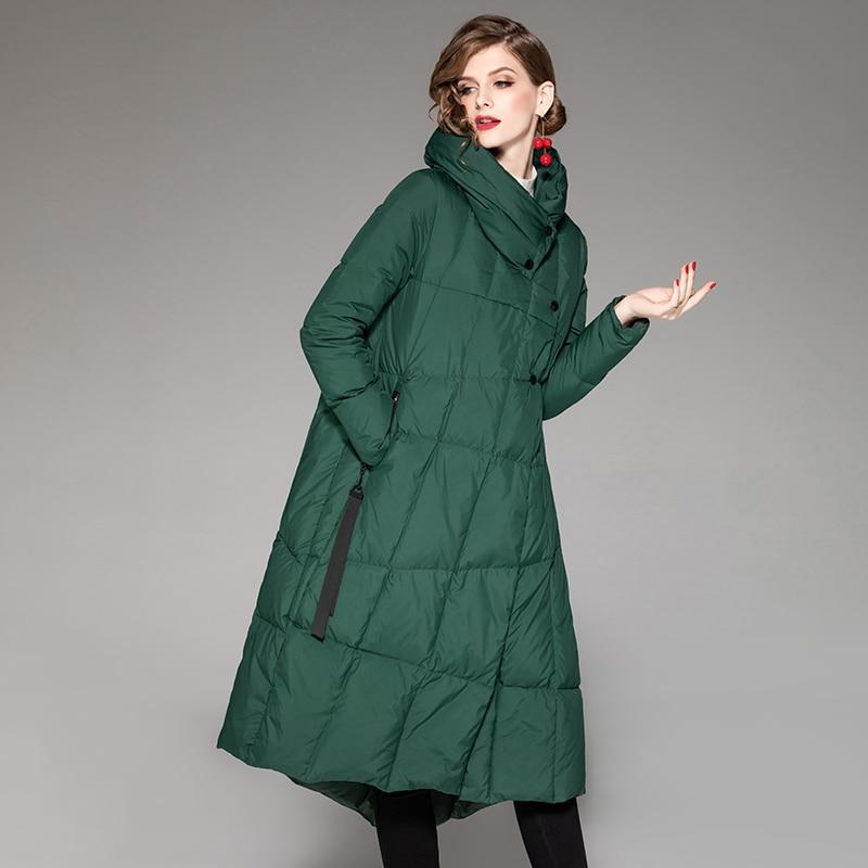 YNZZU Luxury 2019 Winter Elegant Women's Down Jacket 90% White Duck Down Coat Warm Stand Collar Loose Female Jacket Outwear O801