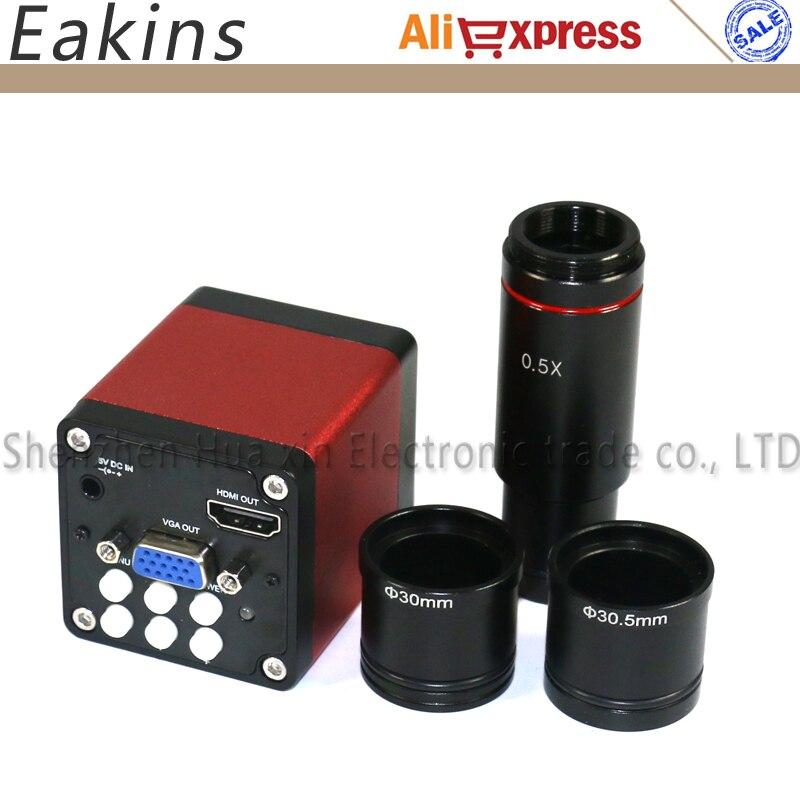 720 P 13MP CMOS HDMI VGA микроскоп камера + CCD 0.5X окуляр микроскопа c-крепление объектива для мм 30,5 мм + 30 мм + 23,2 мм кольцо