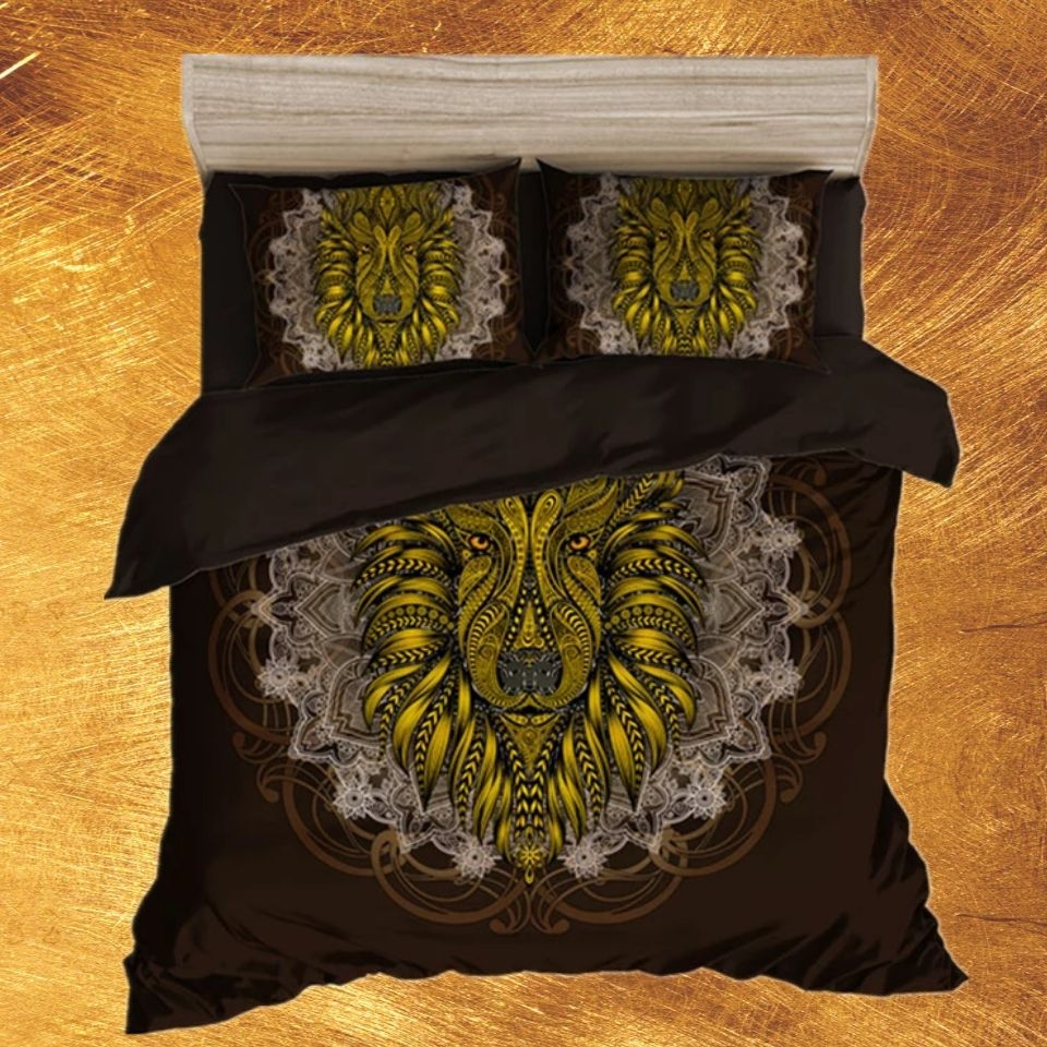 3D Digital Printing Customize Black Bed Linen Luxury With Gold Printed Lion Head Duvet Cover King Size Pillowcase 2/3 Pieces