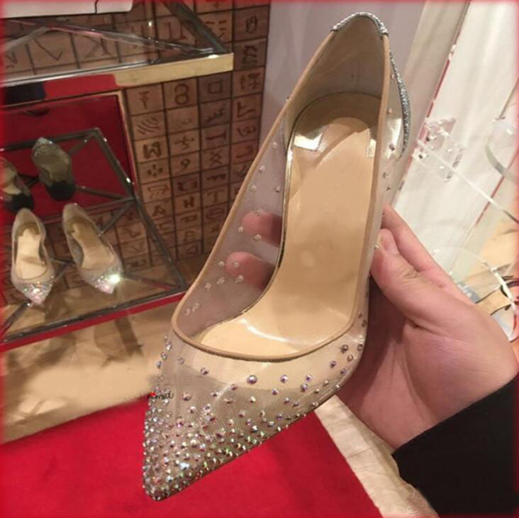 2019 New Spring Summer Elegant Styles Women Shoes Rhinestone High Heels Crystals Pointed Toe Mesh Pumps Woman Red Sole Wedding S