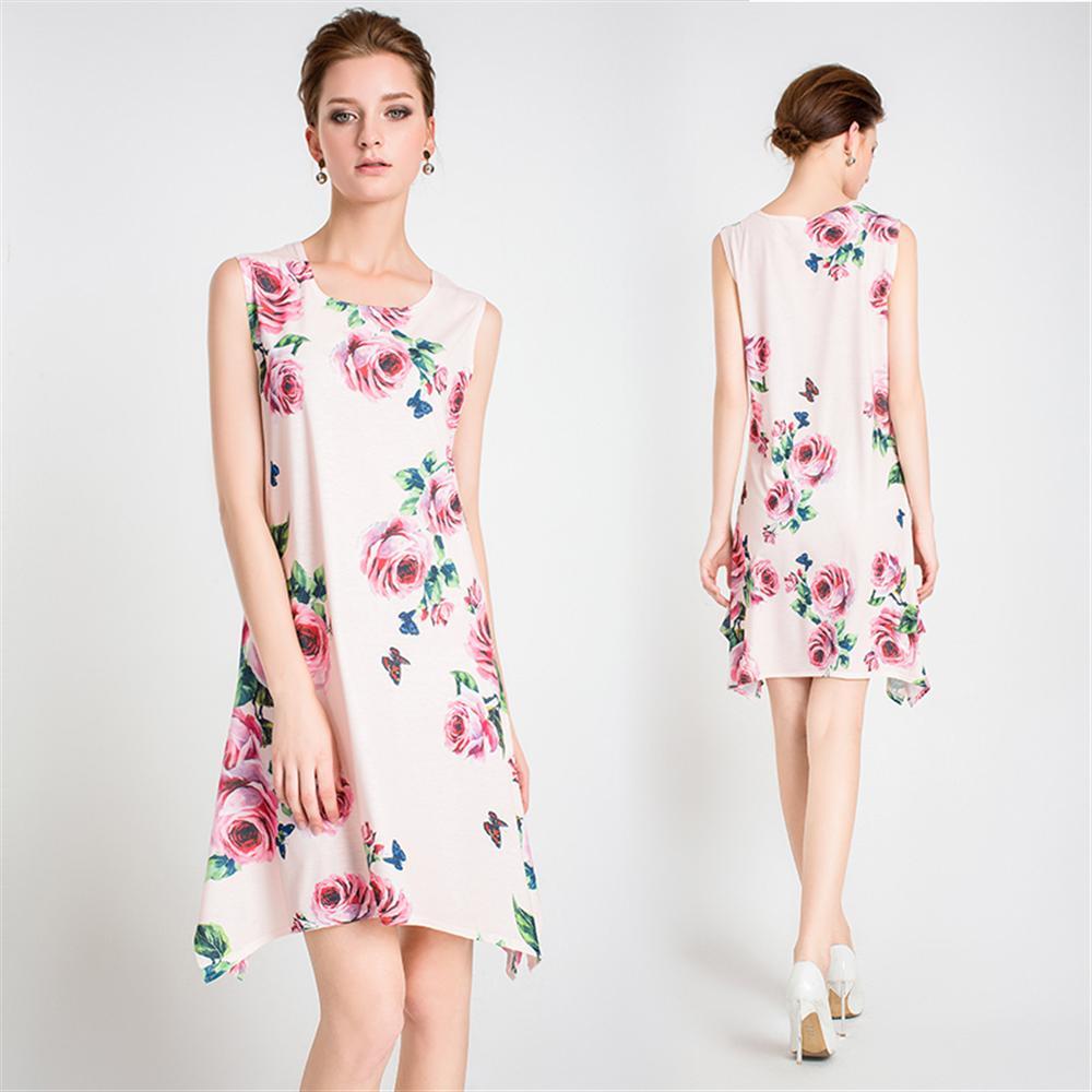 2018 Floral Women Dresses Digital Printed Elegant A-line Female Mini Dress Vestidos Tank Loose Casual Party Short Dress Beach