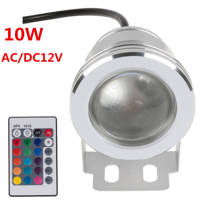 16 Colors 10W DC 12V RGB LED Underwater Fountain Light 1000LM Swimming Pool Pond Tank Aquarium LED Light Lamp IP67 Waterproof 10w 12v underwater led light 1000lm waterproof ip67 fountain swimming pool lamp lights warm white white flood light lamp